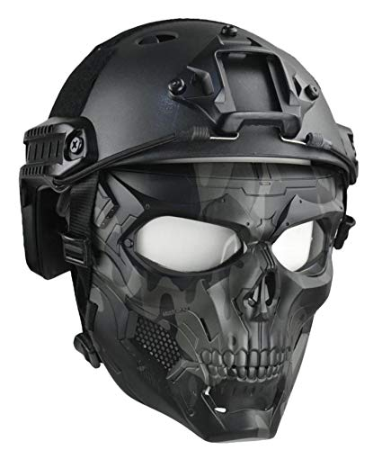 JFFCESTORE Tactical Mask Protective Full Face Clear Goggle Skull mask Dual Mode Wearing Design Adjustable Strap
