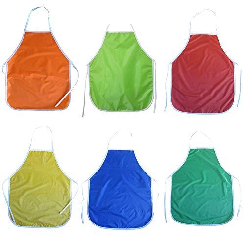 LLMZ Delantales para Niños, 6 Piezas PVC Infantil Ajustable Delantal Impermeables Delantales de Pintura para la Cocina, Colegio, Barbacoa, Aula, Actividad de Pintura (6 Colores)