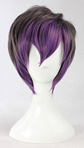 JapanAttitude Perruque Courte Grise Violette 30-35cm, Cosplay