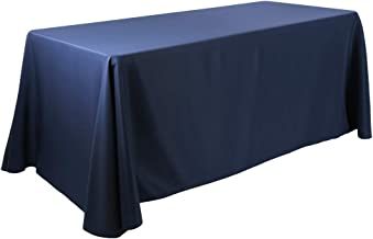 Waysle 90x132-Inch Oblong Tablecloth, 100% Polyester Washable Table Cloth 6Ft. Rectangle Table, Navy Blue