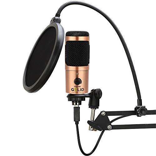 GELID Voce USB Mikrofon - PC Micrófono de Condensador, Computadora, para Podcast, Streaming y Voces, Paquete Completo con Soporte de Escritorio, Microphone