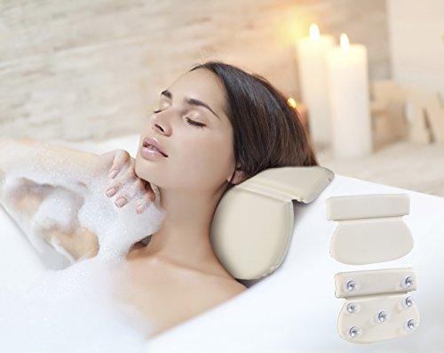 TERRA SELL Premium Nackenkissen zum Baden in der Badewanne - gemütliches Polster für Kopf, Rücken & Nacken - Wasser Kissen mit starken Saugnäpfen