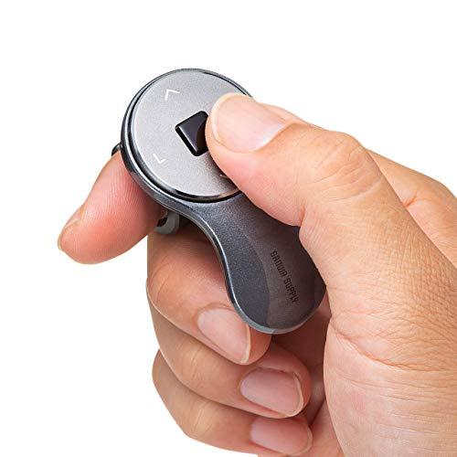 サンワダイレクト リングマウス ワイヤレス 充電式 PowerPoint・Keynote操作対応 Windows/Mac ガンメタリック 400-MAW151GM