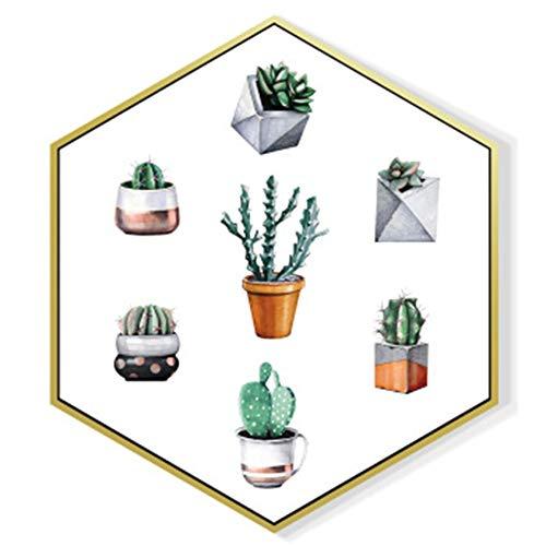 YZMKD Kreative Hexagon Wandfarbe auf Leinwand, Wandkunst, fertig zum Aufhängen für Wohnzimmer, Esszimmer, Schlafzimmer, Dekoration für das Haus 31 x 36 x 18 cm B1