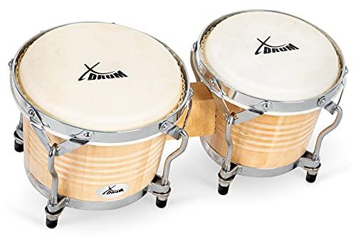 XDrum Bongos Pro Natur - 2 Trommeln mit 6,5' (17 cm) und 7,5' (20 cm) Durchmesser - Bongotrommeln mit stimmbaren Naturfellen und Stimmschlüssel - Holztrommeln Naturfarben