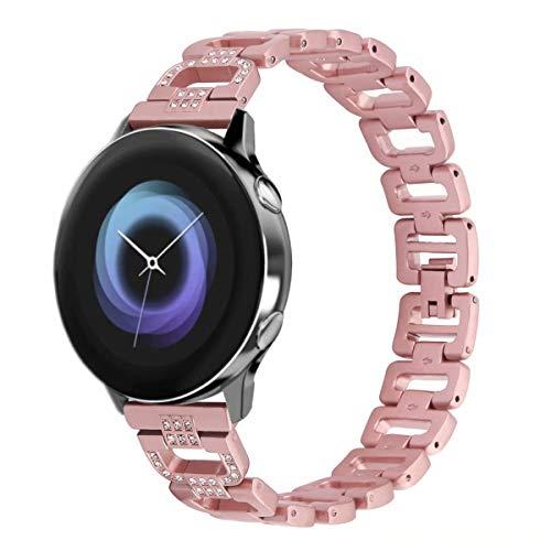 T-BLUER Compatible Samsung Galaxy Watch Active 40mm/Galaxy Watch 42mm Correa, Mujeres Bling Joyería Pulsera Bandas de Metal de Acero Inoxidable Ajustables Brazalete Correas Rosa Oro Plata Negro