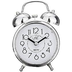 MingSH Classic Retro Alarm Clock Silent Non Ticking Twin Bell Alarm Clock Bedside Loud Alarm Clock Quartz Battery Operated Desk Clock for Bedroom Living Room Study Room, Retro Alarm Clock (Silver)