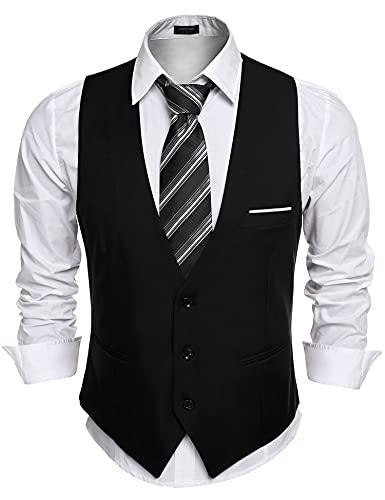 COOFANDY Chaleco de traje de hombre con cuello en V, sin mangas, chaleco de corte ajustado, chaleco formal, clásico, monocolor, para negocios, informal, boda, 93-negro, L