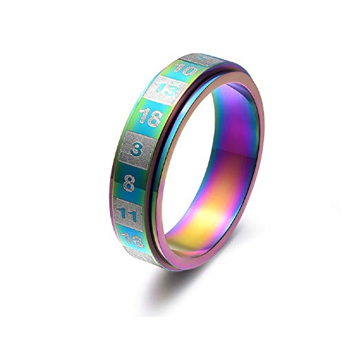 REFAGO 6MM Dice Number Rotatable Rainbow Ring