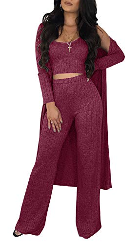 Sexy 2 Piece Outfits for Women Solid Crop Top High Waisted Long Pants Open Front Cardigan Sweater Set
