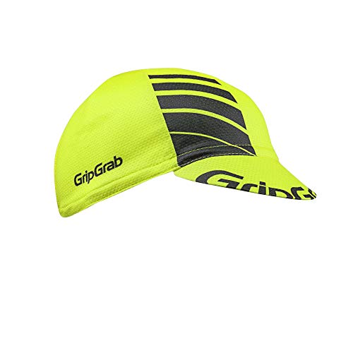 GripGrab Lightweight Summer Cycling Cap UV-Protection Under-Helmet Mesh Hat Highly Breathable 8 Colours, Amarillo neón, OneSize (54-63 cm)