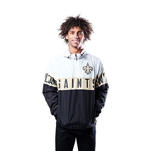 Ultra Game NFL New Orleans Saints Mens Quarter Zip Packable Hoodie Windbreaker Jacket, White, Small