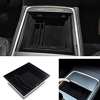 Compatible 2021 Model 3/Y Center Console Organizer Interior Accessoies Customized Flocked Armrest Hidden Cubby Drawer Storage Box with Coin and Sunglass Holder Model 3/Y Accessories.