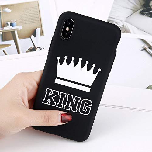 LUOKAOO Custodia per Telefono con Corona Opaca per iPhone 11 PRO Max XS Max X XR King Queen Custodie 7 6 6s 8 Plus Cover in TPU Morbido Tinta Unita Color Caramella, re Nero, per iPhone 8 Plus