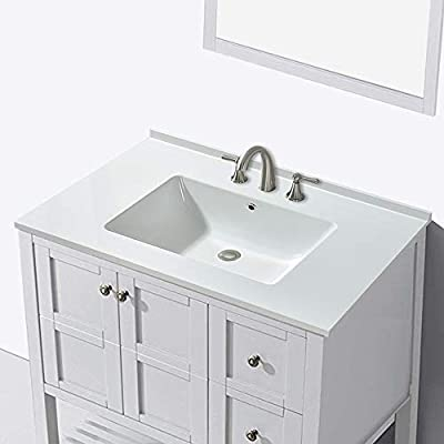 """WOODBRIDGE Surface Vanity Top 37""""x22"""" with 4"""" Faucet Holes, VT3722-1000, Solid White"""