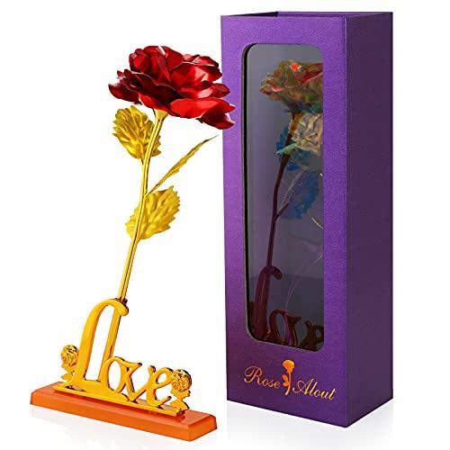 Hianjoo Flores Artificiales Rosa con Caja de Regalo, Amor para Madre el Día de San Valentín Navidad Aniversario día de Gracias para Amigos como Regalo de Cumpleaños,Rojo
