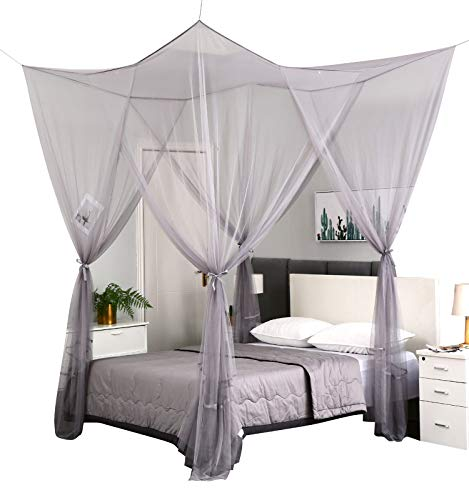 Mengersi 4 Corner Post Elegant Mosquito Net Curtain Bed Canopy for Full Queen King Bed,Suitable for Indoor Outdoor Net(Gray, L87xW79xH98 inch)