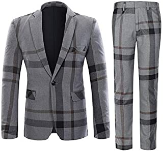 Mens Suits 2 Piece Tweed Suit Slim Fit Checked Vintage Blazer Jacket Formal Business Suit Trousers