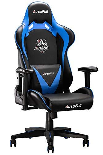 AutoFull Gaming Stuhl Schreibtischstuhl Ergonomischer Gamer Bürostuhl mit hoher Rückenlehne und Lendenwirbelstütze,PU-Leder,Einstellbare Sitzhöhe und Rückenlehnenneigung,Blau (DREI Jahre Garantie)
