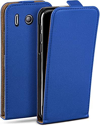moex Flip Hülle für Huawei Ascend Y300 Hülle klappbar, 360 Grad R&um Komplett-Schutz, Klapphülle aus Vegan Leder, Handytasche mit vertikaler Klappe, magnetisch - Dunkelblau