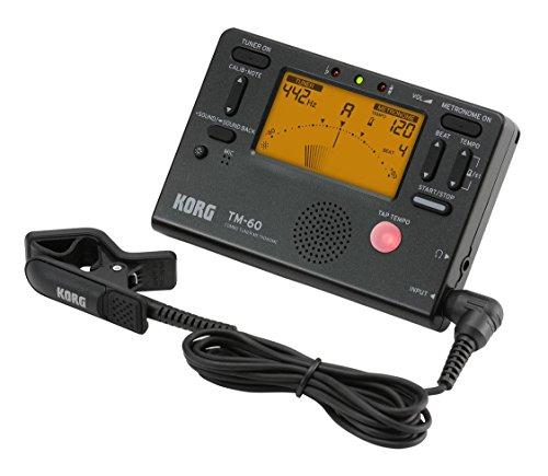 KORG TM-60 Combo aus Stimmgerät und Metronom, mit Kontakt-Mikrofon, Handheld Tuner, schwarz, für Holz- und Blechblasinstrumente