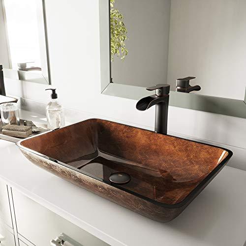 VIGO VGT1055 22.5' L -14.5' W -10.5' H Handmade Glass Rectangle Vessel Bathroom Sink Set in Rich...