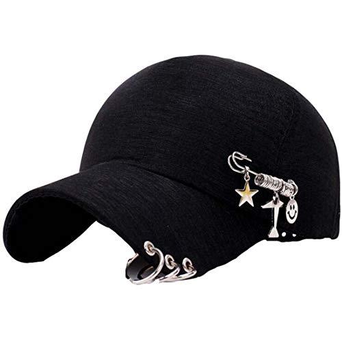 Colygamala Women's Personality Three-Ring Chain Baseball Caps Summer Street Hip Hop Cap Pink/White