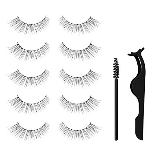 False Eyelashes, 5 Pairs Natural Looking Reusable Eye Lashes for Makeup...