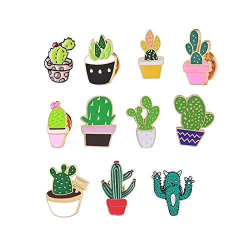ZSCZQ Broches de Dibujos Animados de Plantas Lindo Mini Cactus en Maceta de Pera Espinosa Pines esmaltados Chaquetas Pin de Solapa Bolsa Icono Insignia Mujeres joyería orquídea