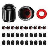 30 tappi per valvole per pneumatici, in plastica, colore nero, con guarnizione O-Ring per SUV, bicicletta, moto, camion, 30 pezzi