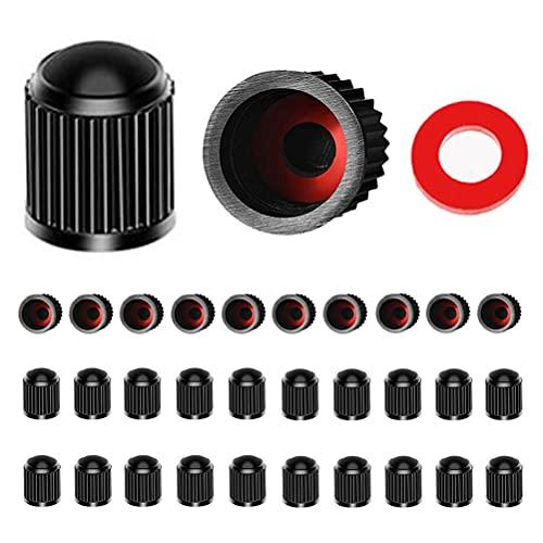 kuou 30 Unidades de Tapas de válvula de neumático, de plástico Negro para neumáticos de Bicicleta con Junta tórica roja para SUV, Bicicleta, Motocicleta, Camiones