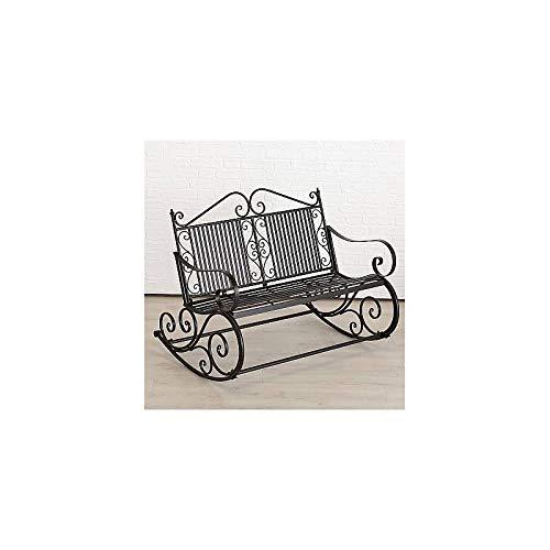 L'Héritier Du Temps Rocking Chair dubbele stoel, tuinstoel, schommelstoel, ijzer, zwart, 91 x 93 x 117 cm