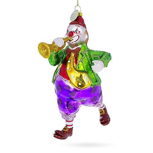 BestPysanky Clown Playing Trumpet Glass Christmas Ornament