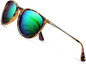 Sunglasses for Women Men Polarized uv Protection Wearpro Fashion Vintage Round Classic Retro Aviator Mirrored Sun glasses (Leopard green)