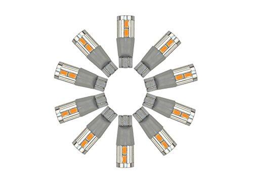 Njytouch 10 pcs Ambre Jaune 10smd 5730 T10 W5 W 2825 158 192 194 ampoule LED WEDGE Tail Light DC 8–25 V