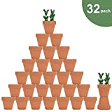 """32pcs Small Mini Clay Pots, 2"""" Terracotta Pot Clay Ceramic Pottery Planter, Cactus Flower Nursery Terra Cotta Pots, with Drainage Hole, for Indoor/Outdoor Succulent Plants, Crafts, Wedding Favor"""