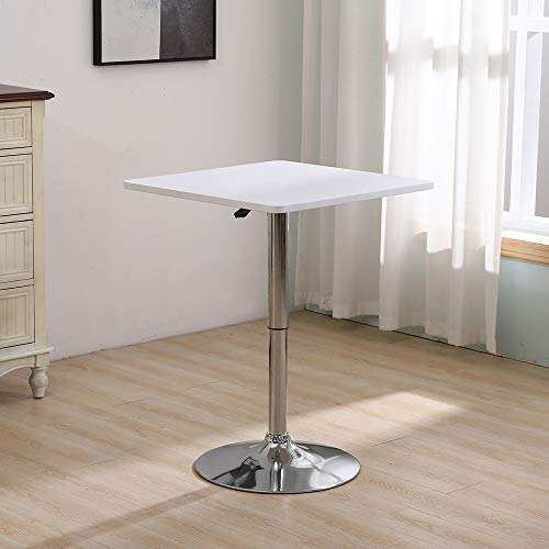 HomeSailing EU Square MDF Bar Table Adjustable Height 360 Swivel Pub Table High Tall Bistro Table with Chromed Metal Leg and Base Breakfast Cocktail Poseur Pedestal Table for Restaurant Kitchen Club