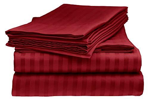ELEGANTE 1800 Count Egyptian Comfort Striped 4pc King Bed Sheet Set, Burgundy