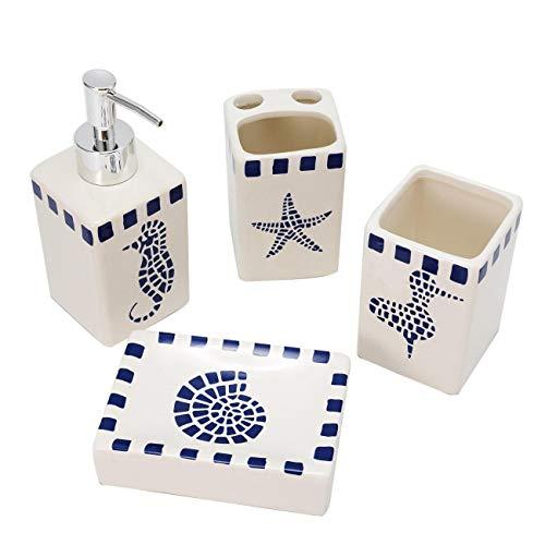Dyna-Living [AUS DE VERSANDT] 4-teiliges Badzubehör-Set aus Keramik Seifenspender, Seifenschale und Zahnputzbecher Badezubehör aufgefüllt