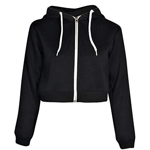 MEIbax Damen Einfarbig Crop Hoodie Sweatshirt Zip Cozy Pullover Cardigan Strickjacke Kurzmäntel Coats Jacke