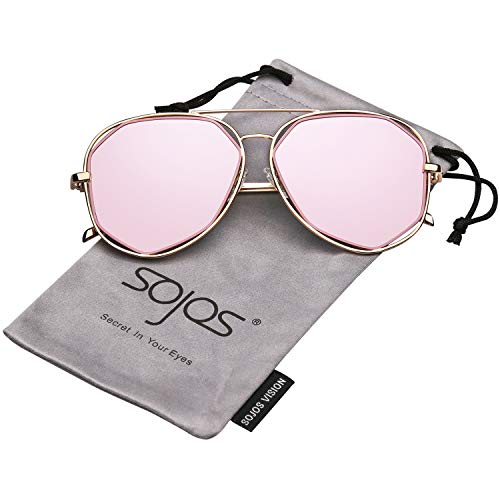 SojoS Fashion Metal Frame Flat Mirrored Lens Sunglasses SJ1004 With Gold Frame/Pink Lens