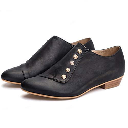 WggWy Zapatos De Tobillo del Cuero del Remache De Las Mujeres, De Peso Ligero Tacón Bajo En Punta Zapatos De Moda Zapato Suave Y Transpirable Ciclismo,Negro,42