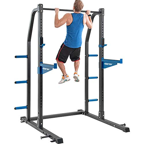 Merax Athletics Fitness Power Rack Olympic Squat Cage with Safety Bar and Plate Holder for Home Gym (Half Rack)