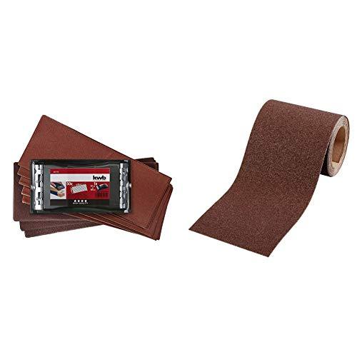 kwb Handschleifer-Set – 2-tlg. inkl. Schleifklotz mit Klemmvorichtung und Schleifpapier 93 mm x 230 mm (50 Stk.) & Schleifpapier-Rolle – für Metall und Holz, K-240, 93 mm x 5 m, Korund