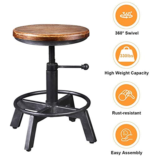 BOKKOLIK Set of 2-Industrial Bar Stools-Farmhouse Swivel Counter Stool-Height Adjustable 24.4-27.5inch-Kitchen Island Dining Stool-Extra Guest Seating