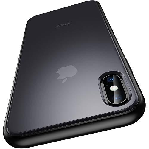 """Meifigno kompatibel mit iPhone XS Max Hülle mit Panzerglas, [Militärgeprüft], durchscheinender, Matter PC mit weichen Kanten, stoßfeste Handyhülle für iPhone XS Max 6,5"""", Schwarz"""