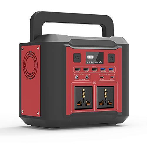 UKing Tragbarer Stromerzeuger 80000mAh / 296Wh Kraftwerk mit LED-Notbeleuchtung 300W Netzteil mit LCD-Batterieanzeige DC/AC/USB/Typ-C-Ausgang für Camping im Freien (Red)