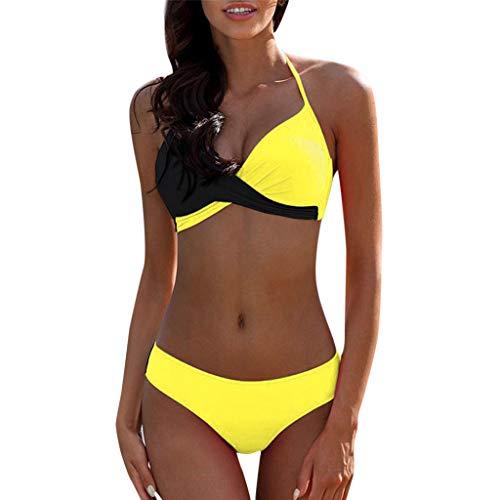 PZone Sujetador Push-up Acolchado para Mujer Conjunto de Bikini de Talla Grande Traje de baño Traje de baño Traje de baño Halter Dividido Color a Juego Ropa de Playa Hawaii