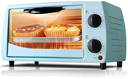 Horno eléctrico automático, 9 / 12L Mini horno Temperatura ajustable 0-230 ℃ y 60 minutos Temporizador Posición de hornear de doble capa Hornear (Color: Azul)