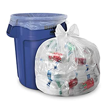 33 Gallon Clear Trash Bags -  Huge 100 Pack  - 33  x 39  - 1.5 MIL  Equivalent  - CSR Series - Heavy Duty Industrial Liners Clear Garbage Bags for Recycling Contractors Storage Outdoor